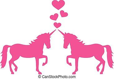 Two unicorns in love