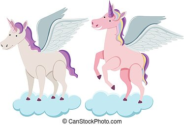 Two unicorns on blue clouds