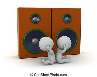 Two Upset 3D Characters with Large Loudspeakers