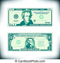 Two US bills greatly simplified and stylized for print or ...