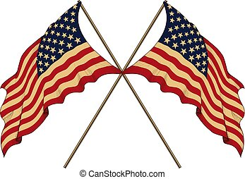 Two US Flag - two crossed mirrored US flag Isolated on white...