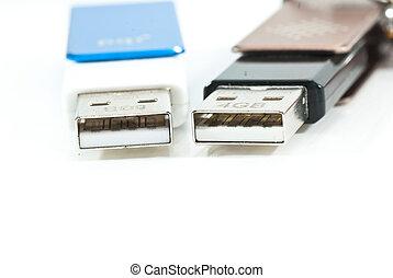 two USB storage on white background