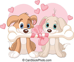 Two Valentine dogs holding decorated bone