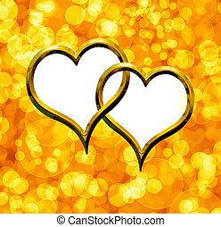 Two Valentine's golden heart