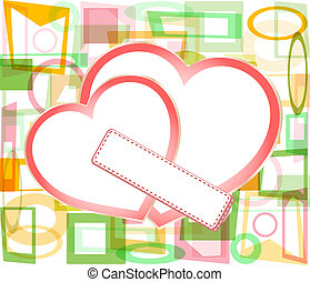 two valentine's paper hearts with a blank business card