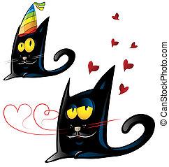 two variant of black cat cartoon
