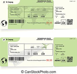 Two variants of airline boarding pass tickets