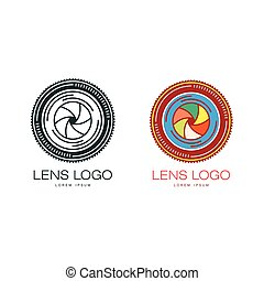 Two variants of photo camera lens logo template