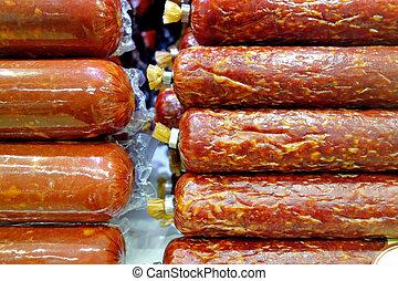 Two varieties of smoked sausage