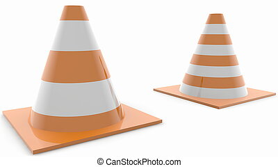 Two various road safety cones