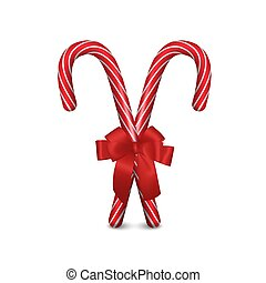 Two Vector 3d Realistic Christmas and New Year Candy Canes ...