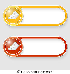 two vector abstract buttons with envelope