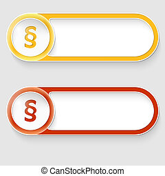 two vector abstract buttons with paragraph