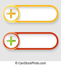 two vector abstract buttons with plus sign