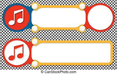 Two vector abstract frames for your text and music icon