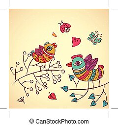 Two vector birds on branch love heart