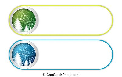 two vector buttons with Christmas landscape