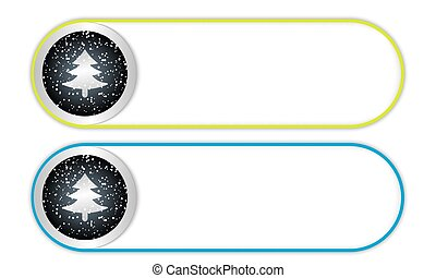 two vector buttons with falling snow and xmas tree