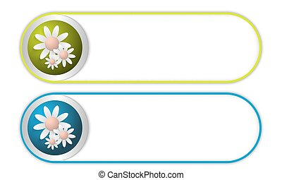 two vector buttons with flowers
