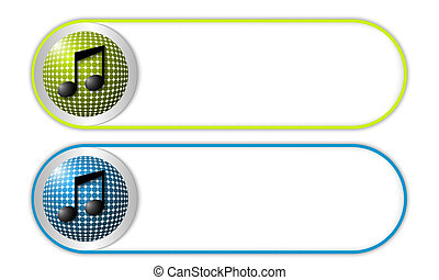 two vector buttons with grid and music icon