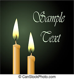 Candles - Two Vector Candles with Black Background