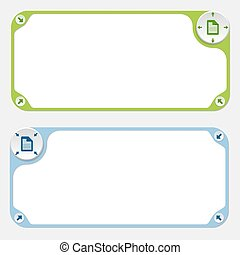 Two vector frames and arrows and document icon