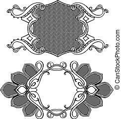 Two Vector Frames Ornament Elements In Antique Style.