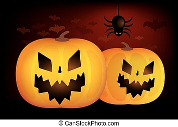 Two vector halloween pumpkins head isolated on white background