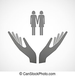 Two vector hands offering a lesbian couple pictogram