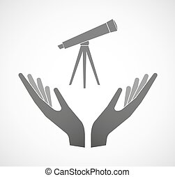 Two vector hands offering a telescope