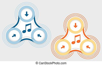 Two vector objects and colored music symbol