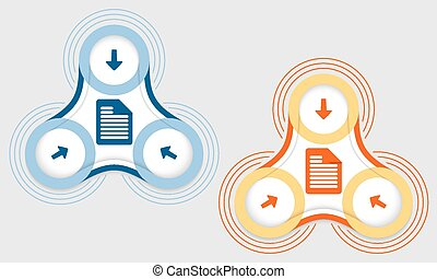 Two vector objects and document icon