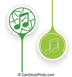 Two vector objects and globe symbol with music icon
