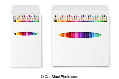 Two vector realistic boxes of colored pencils isolated on a white background.