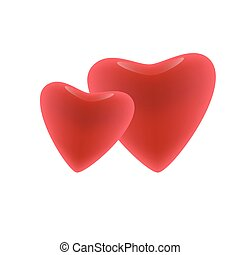 Two vector red hearts. Valentine's day