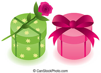 round gift boxes with a rose