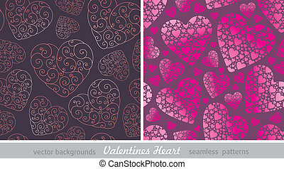 Two vector seamless background with Valentines hearts