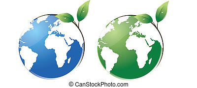protect the planet - two vector worlds with a leaf growing ...