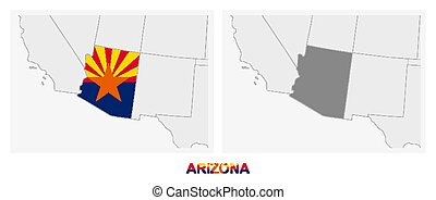 Two versions of the map of US State Arizona, with the flag of Arizona and highlighted in dark grey.