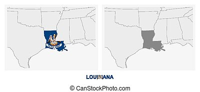 Two versions of the map of US State Louisiana, with the flag of Louisiana and highlighted in dark grey.