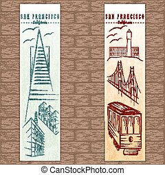 two vertical banners on san francisco theme