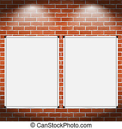 Two vertical billboards on brick wall, vector eps10 illustration