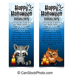 Two vertical cards on the theme of the Halloween holiday. Vector illustration.