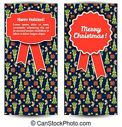 Two Vertical Christmas Banner Set
