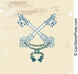 heraldic keys - two very old heraldic keys on the Grunge...