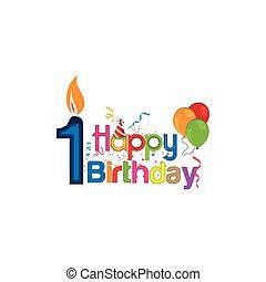 two., vettore, vecchio, anno, numero, compleanno, disegno, bambino, felice