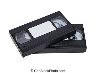 two videos - Two videocassette close-up on a white...