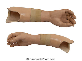 Two view of the prosthetic arm isolated on a white...