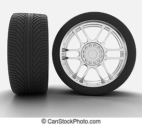 Two views automobile wheel