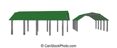 two views of a green sheet metal carport on metal arched frames